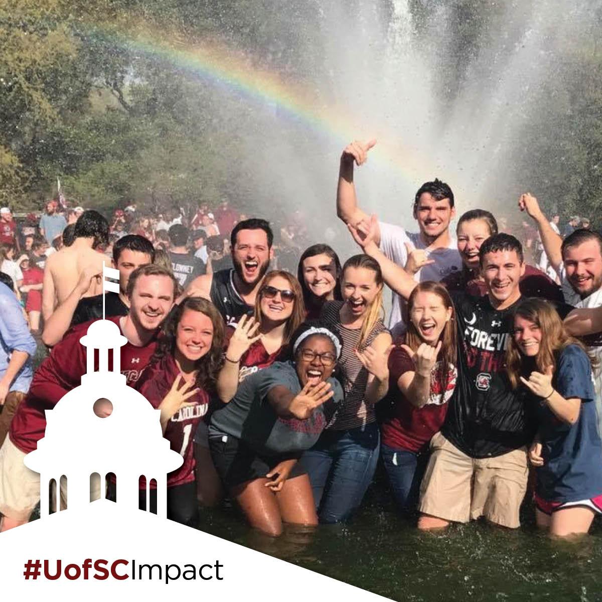 students celebrating #UofSCImpact