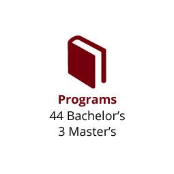 Infographic: Programs: 44 Bachelor's, 3 Master's