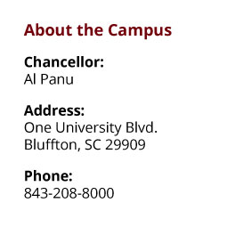 About the Campus: Chancellor: Al Panu;  Address: One University Blvd., Bluffton, SC 29909;  Phone: 843-208-8000