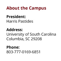 About the Campus: President: Harris Pastides;  Address: University of South Carolina, Columbia, SC 29208;  Phone: 803-777-0169