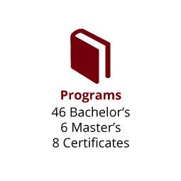 Infographic: Programs: 46 Bachelor's, 6 Master's, 8 Certificates